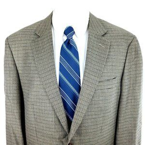 Joseph & Feiss Gold Label 42L Tan Houndstooth Wool